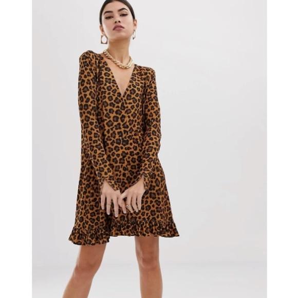 ASOS Leopard Print Button Long sleeve Mini Dress